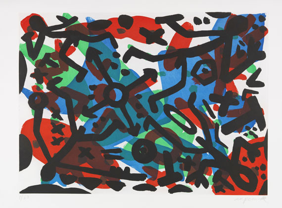 A. R. Penck (d. i. Ralf Winkler) - Etching and aquatint in colors